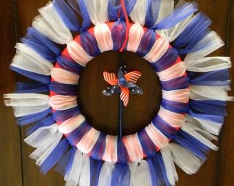4th of July Celebration Pinwheel Wreath-Patriotic Wreath-American Flag Wreath
