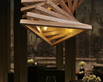 Contortive Triangle Tunnel Solid Wood Chandelier