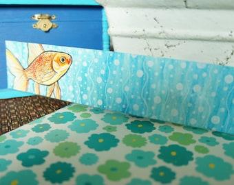 Hand Painted Laminated Goldfish Bookmark