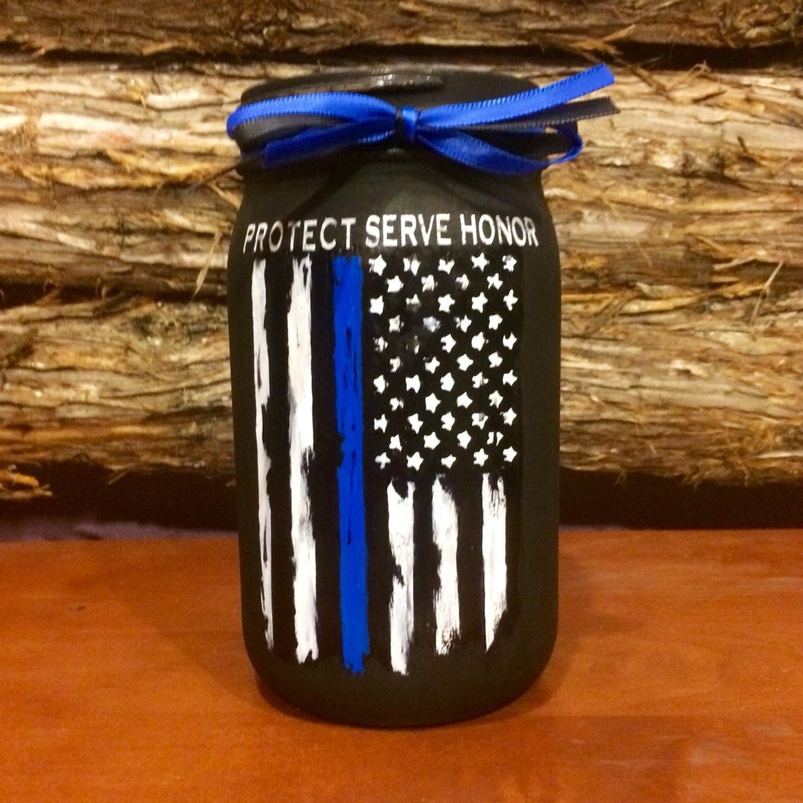 Police Officer Gift Thin Blue Line Distressed Flag Jar