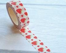Strawberry Washi Tape | Fruit Washi Tape, Paper Tape, 15mm Tape, Planner Supplies, Planner Washi Tape  30