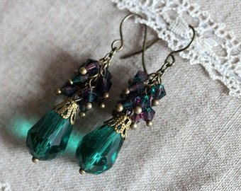 Vintage Style Earrings, Emerald, Cluster, Chech Crystal, Antique Bronze Earrings