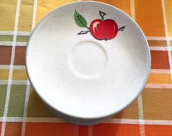 Set of 11 Country Style 1850 Stoneware apple-themed saucers