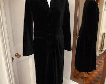 Vintage Monsoon fabulous full length black velvet coat, size 14.
