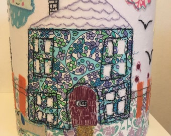 Handmade 20cm drum lampshade made to order with your child's embroidered drawing
