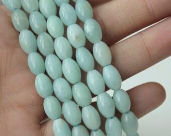 Natural Amazonite Rice shape Beads Barrel Shape Beads Gemstone Beading Supply 6mm x 9mm Light Aqua Blue Beads