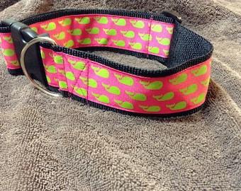 Dog Collar Whales Print Collar Adjustable Dog Collar 2 inch wide Dog Collar