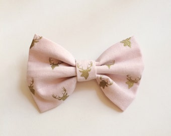 SALE Light Pink Bow with Golden Deer