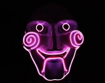 LED Wire Saw Puppet Mask, Full Face (Pink)
