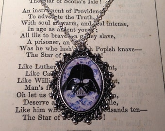 Darth Vader vs. flowers -  pendant necklace