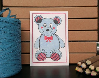 Card Teddy Bear - A6 Postcard - Blank Card - Just Because Card - Card Recycled Paper.