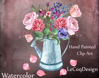 """Watercolor roses clipart: """"FOWERS CLIPART"""" wedding clipart floral clipart DIY elements separate flowers invitation clipart vintage roses"""