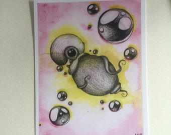 Watercolor Octopus Print Pink and Yellow
