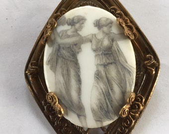Vintage Art Deco Grecian  Goddess Porcelain Cameo Pin Brooch