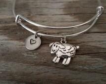 Sheep Bangle Bracelet - Lamb - Animal Lover Gift- Farmer Gift - Rancher - Herder - Heart