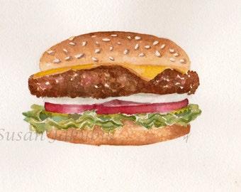 Hamburger Watercolor Giclee Print, Print of Watercolor Hamburger Painting