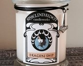"""Ocean Sea Breeze Salt Water scent soy candle """"Dragon Ship"""" 12oz Viking Natural Soy jar Candle With Lid Shieldmaiden Candleworks"""