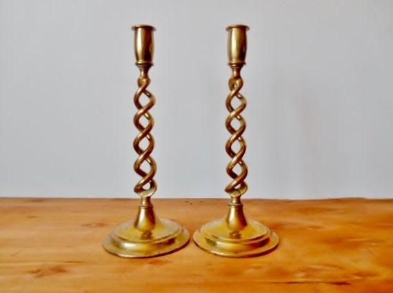 Antique Victorian Brass Candle Holders Open Barley Twist Set