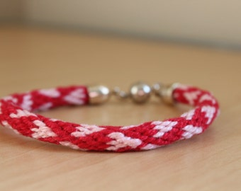 Red & Baby Pink Woven Bracelet