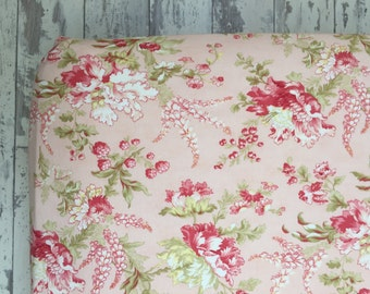 Floral Baby Girl Crib Sheet. Floral Crib Sheet.  Whitewashed Cottage.  Baby Shower.  Pink Baby Bedding.