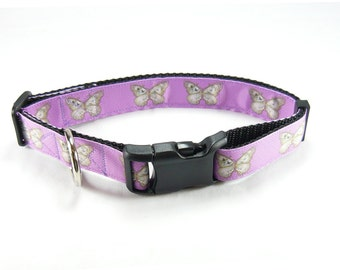 """Purple Butterfly Dog Collar (1"""" width) - Large - Extra Large - Leash - Martingale"""