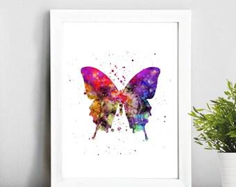 Buterfly art, Watercolor Art, Illustration Print, Home Decor, Baby Art, Gift Idea, Nursery,