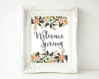 Spring Printable Wall Art, Welcome Spring printable art, Spring decor, Easter art, Spring wall decor, Easter poster, gallery wall