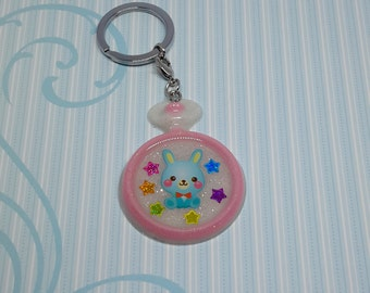 Kawaii Bunny resin pocket watch keychain