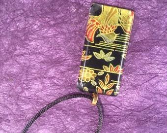 Black Japanese Chiyogami and Glass Rectangular Pendant