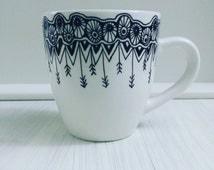 Hand Decorated/Drawn Mug-Coffee-Tea-Mandala/Zentangle Design