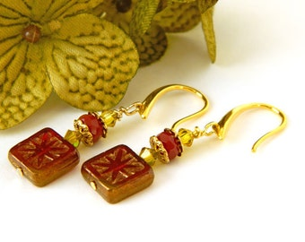 Red Earrings for Women, Glass Earrings, Gold Dangle Earrings, Square Earrings, Swarovski Crystal Jewelry, Handcrafted Jewelry, Gift for Her