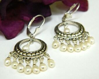 Real Pearl Earrings, Chandelier Earrings, Swarovski Crystal Jewelry, Silver Earrings, Freshwater Pearl Earrings, Handcrafted Jewelry