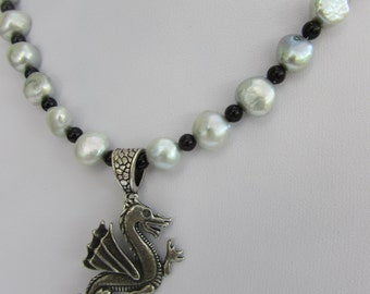 Puffs of smokey silver cultured pearls and pewter dragon pendant