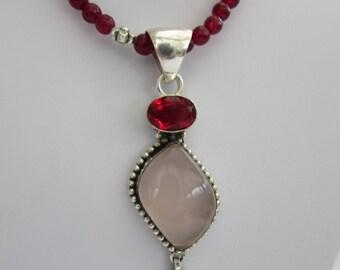 Medieval look Garnet and Rose Quartz Pendant