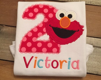 Elmo birthday shirt, elmo birthday appliue shirt, birthday shirt, elmo applique shirt, boy elmo shirt, girl elmo birthday shirt, SSD-38