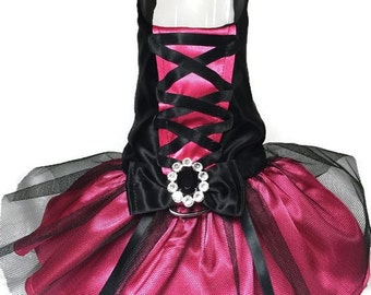 Raspberry Licorice Corset Dog Harness Dress