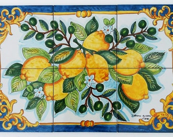 Hand Painted Tile Mural Lemon Branch Ceramic Tile Mosaic