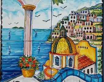 Decorative Painted Tiles for Backsplash, Backsplash Decor, Positano Italy, Tile Mural, Mediterranean Decor, Italian Design, Backsplash Tiles