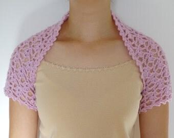 Lilac Crochet Bolero Lacy 100% Acrylic