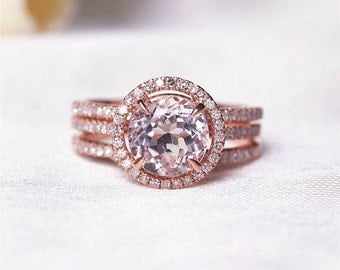 Round Morganite Diamond, Halo Engagement Ring, Rose Gold Art Deco, Wedding Set, Morganite Wedding set, Diamond, Rose Gold, Halo Diamond