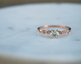 Moissante Engagement Ring, Engagement Ring, Rose Gold Ring, Unique Engagement Ring, 14K Rose Gold