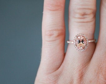Oval Diamond Halo Rose Gold Morganite Engagement Ring, Rose Gold Morganite Ring, Diamond Halo around Morganite