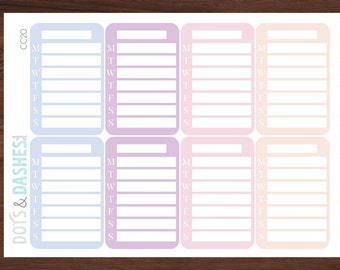 Blank Sidebar Stickers, spring side bar stickers, tracker stickers, black sidebar tracker, Meal planning stikcers, Sidebar workout, CC20
