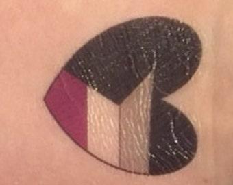 Demisexual Temporary Heart Tattoo