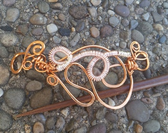 Twisted hair pic, silver and copper hair adornment, wrapped wire hair clip, beautiful hair slide, gift for her, artisan wire work, handmade