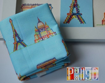Exclusive rainbow 'paris landmarks' stitched motif digitally printed 100% cotton fabric fat quarter