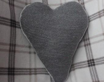 Knitted Folk Heart filled Cushion