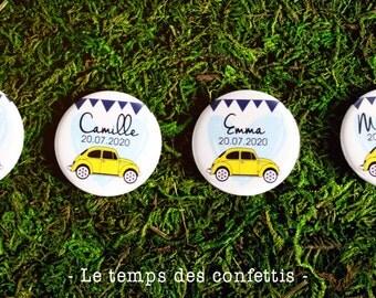 Badge car VW volkswagen beetle wedding birthday party gift invited memories customizable vehicle vintage