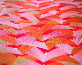 Handmade origami paper - Waves on red