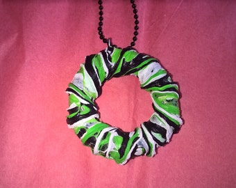 Black/White/Green Circle Necklace, created with with repurposed plastic!